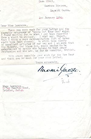 Two Typed Letters Signed ('Naomi Jacob.'), author and actress, to Eva Lawrence.: Naomi ...