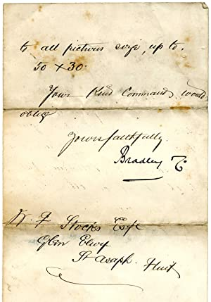 Manuscript Letter from Bradley & Co., 'Picture Frame Makers, Packers & Conveyancers, ...