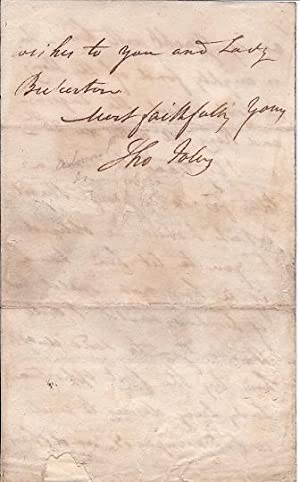 Autograph Letter Signed ('Tho Foley') from Sir Thomas Foley to Sir Richard ...