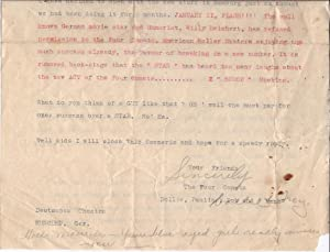 Typed Letter Signed by Troy and Dollie Hoskins for 'The Four Comets | Dollie, Pauline [Same], ...