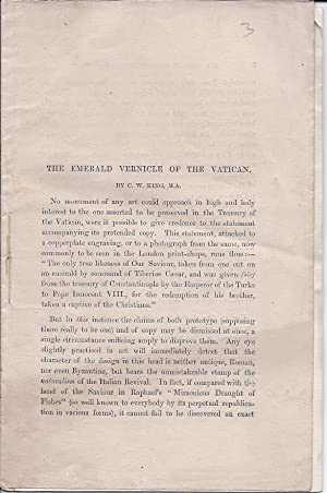 Pamphlet/Offprint[?]] The Emerald Vernicle of the Vatican: C.W. King [Portrait of Christ in ...