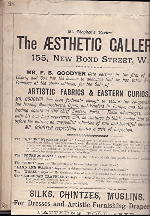 Substantial collection of press cuttings relating to: The Aesthetic Gallery,