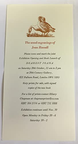 Dearest Joana: The Wood Engravings of Joan Hassall - Exhibition and Book Launch Publicity Slip Only