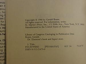 Dr. Ebenezer's Book and Liquor Store: Rosen, Gerald