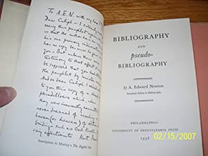 Bibliography and pseudo-Bibliography: A. Edward Newton