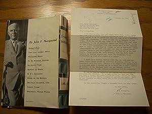 Sincerely, Willis Wayde: John P. Marquand