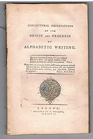 Conjectural Observations on the Origin and Progress of Alphabetic Writing.