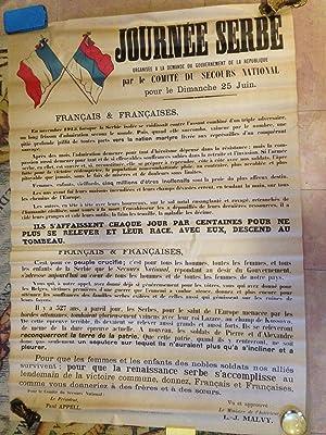 """Affiche Originale lithographiée """"Journée Serbe Organisée à La ..."""