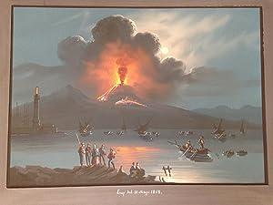"Gouache Napolitaine ""Erup Del 7 Mayo 1868""."