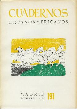 Cuadernos hispanoamericanos. Noviembre 1965. Nº 191. Futuros: Gaya Nuño, Juan