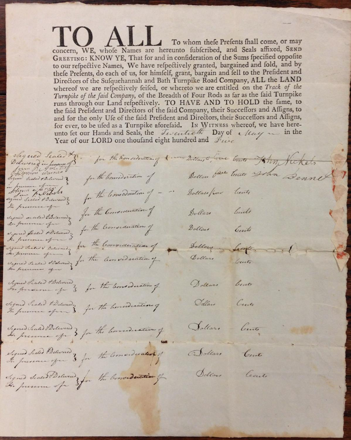 """SUSQUEHANNA BATH TURNPIKE. PRINTED DEED 15"""" X 10 3/4"""". TO ALL . WE, WHOSE NAMES ARE ..."""