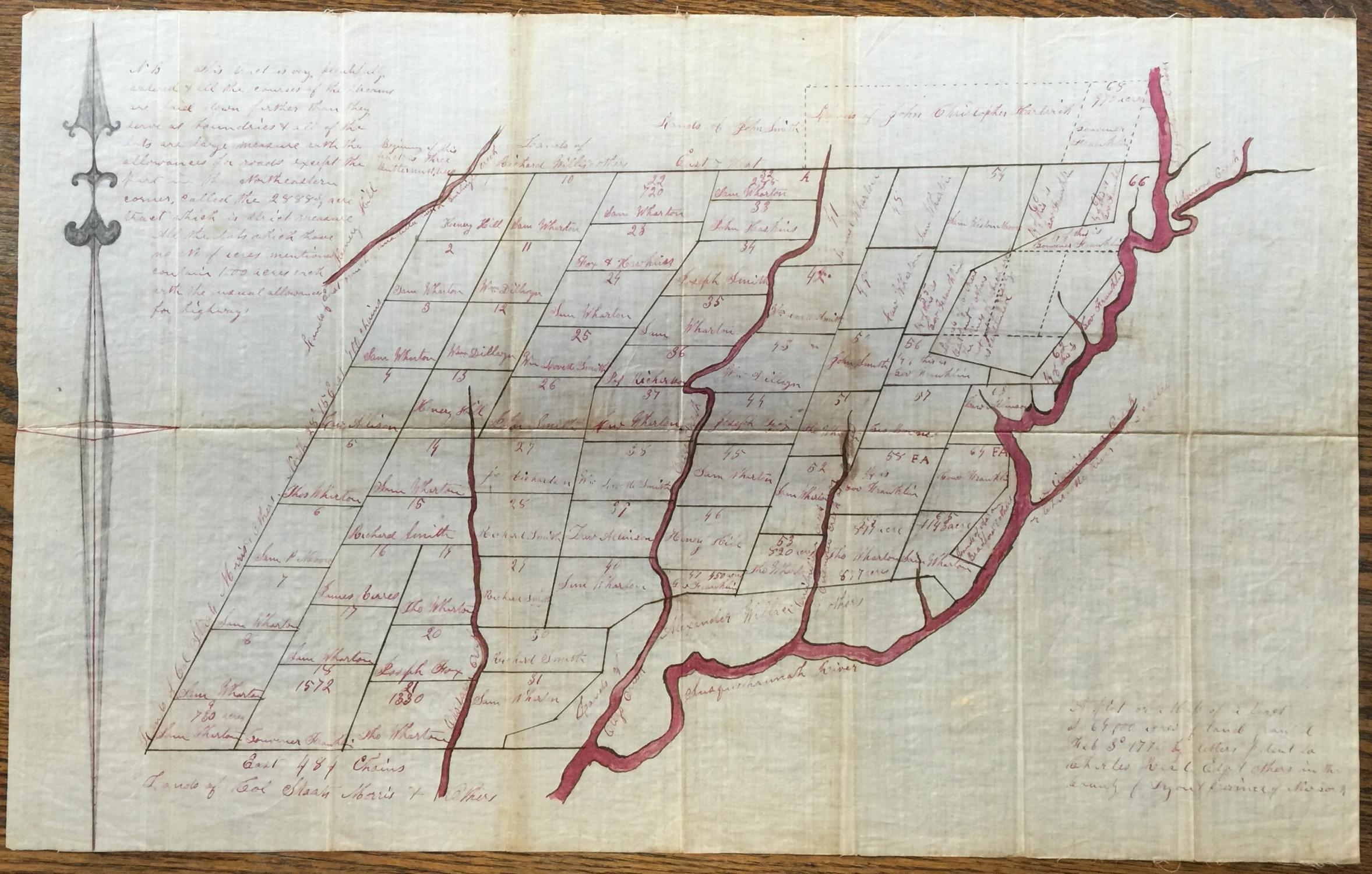 A PLOT OR MAP OF A TRACT OF 69,000 ACRES OF LAND GRANTED FEB. 3RD, 1770 BY LETTERS PATENT TO ...