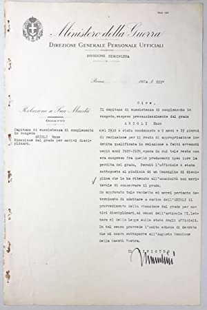 Document signed, military suspension of duties: MUSSOLINI, Benito
