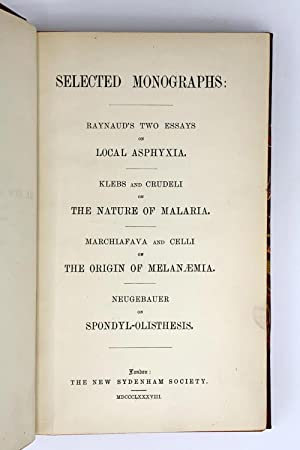 """Raynaud's two essays on local asphyxia"""".; In: Selected Monographs: RAYNAUD, Maurice (1834-..."""