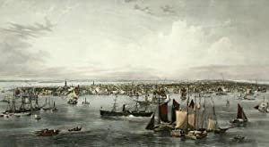 New York, PRINT, an extremely large fine authentic handcoloured steel engraving of New York by C. ...