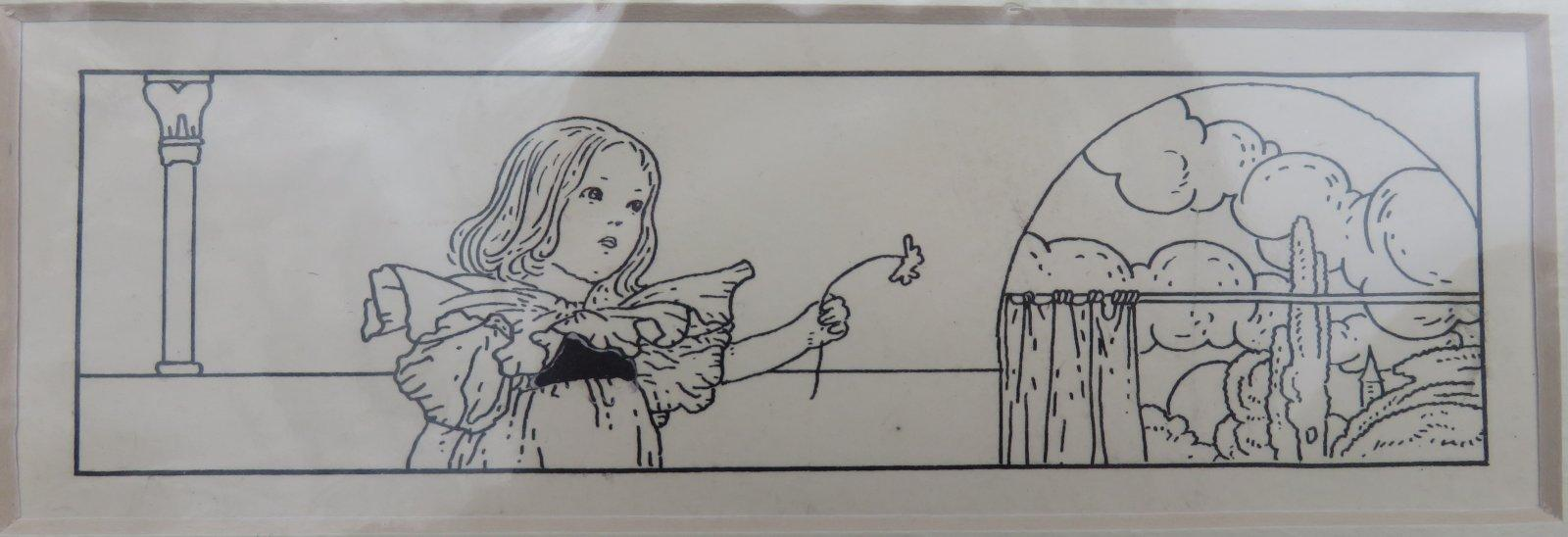 "ORIGINAL PEN AND INK DRAWING OF A LITTLE GIRL FROM """"SONGS OF LOVE AND PRAISE"""". (Artwork). ROBINSON, Charles."