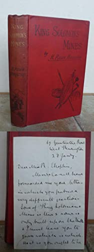 KING SOLOMON'S MINES. With AUTOGRAPHED SIGNED LETTER: HAGGARD, H. Rider.
