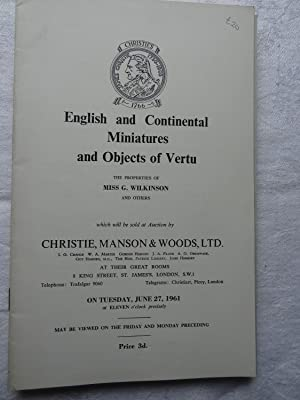 Auction Catalogue: English and Continental Miniatures and Objects of Vertu June 27 1961