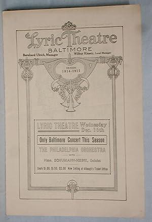Lyric Theatre, Season, 1914-1915 (Mmme. Schumann-Heink; Anna Pavlova