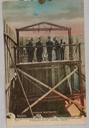 Hand Colored Postcard of Execution of Mexican Murderers, Prescott, Arizona, 1904