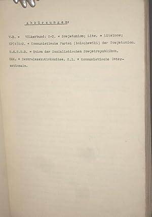 EINE HISTORISCHE POLITISCHE SCHILDERUNG DER HALTUNG DER SOWJETUNION ZUM VOELKERBUND UND ZUM ...