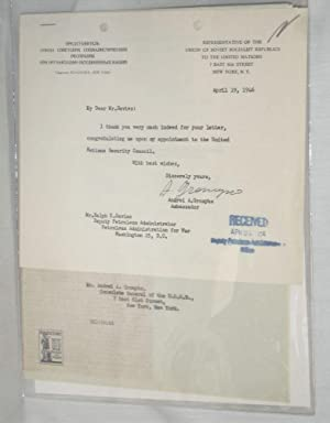 1Typed Letter Signed on His Appointment to the U.N. Security Council, April 19, 1946: Gromyko, ...