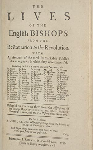 The Lives of the English Bishops from the Restauration to the Revolution: Salmon, Nathaniel