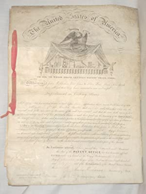 DS: U.S. Patent Signed by James Buchanan (as Secretary of State) and Edmund Burke (as Commissioner ...