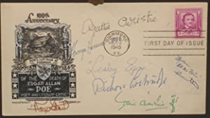 First Day Cover Honoring Edgar Allan Poe; Signed By Agatha Christie, Rex Stout, Leslie Charteris ...