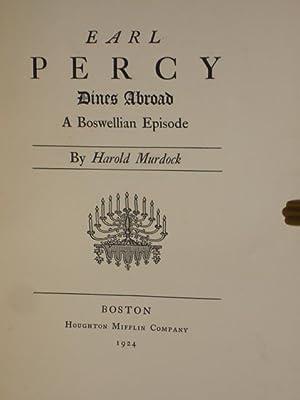 Earl Percy Dines Abroad, a Boswellian Episode: Murdock, Harold