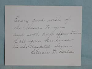 Autograph Note Signed (ANS): Wald, Lillian D.