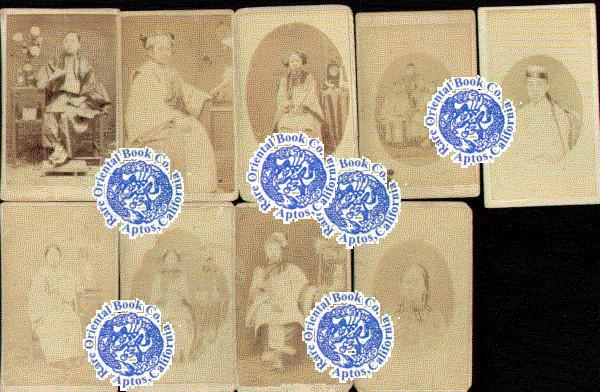 A GROUP OF NINE Ca 1860 CHINESE CARTE DE VISITE PHOTOGRAPHS