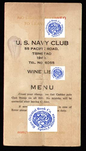 WINE LIST MENU U.S. NAVY CLUB, TSINGTAO,: U.S. NAVY CLUB,
