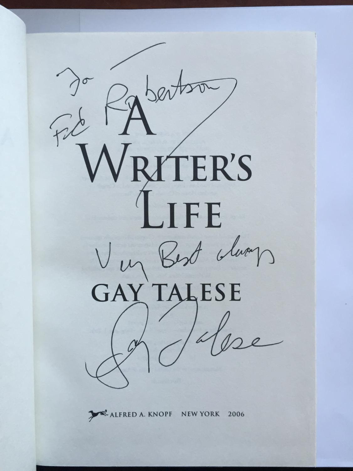 Gay A Writers Life Talese