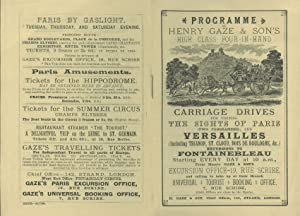 Programme of Henry Gaze & Son's High Class Four-in-Hand Carriage Drive