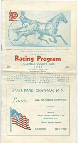 Official Racing Program, September 2, 1944: Columbia County Fair, Chatham, NY