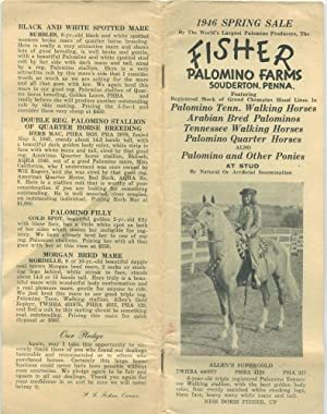 1946 Spring Sale: Fisher Palomino Farms, Souderton, Pa