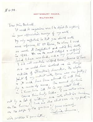 Siegfried Sassoon Letter to Miss Betty Bushnell