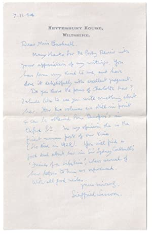Siegfried Sassoon Letter to Miss Athalie Bushnell with other related documents