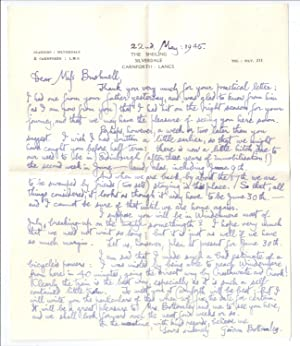 Gordon Bottomley Letter to Miss Bushnell