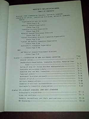Inspector's Familiarization Manual: The Army Air Forces Material Command for the Inspection ...