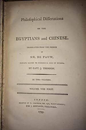 Philofophical Differtations on the Egyptians and Chinese in Two Volumes (Philosophical ...