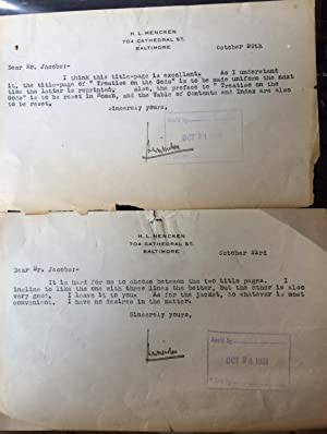 Two short Typed Letters. Signed by H.L. Mencken in 1931: H.L. Mencken