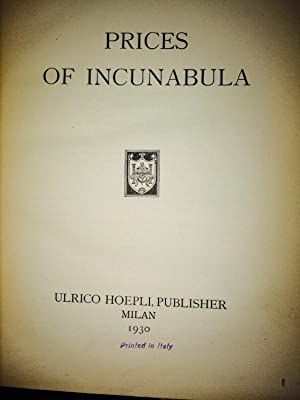 Prices of Incunabula: Max Sander
