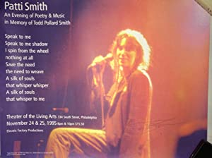 """Poster announcing """"An Evening of Poetry and Music in Memory of Todd Pollard Smith.''..."""