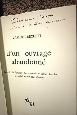 D'UN OUVRAGE ABANDONNÉ. (From an Abandoned Work): Beckett, Samuel (Signed)
