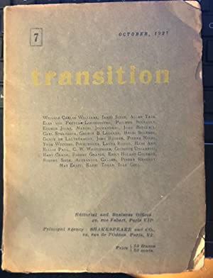 Transition. No.7. October,1927 : William Carlos Williams,: EUGENE AND PAUL,ELLIOT