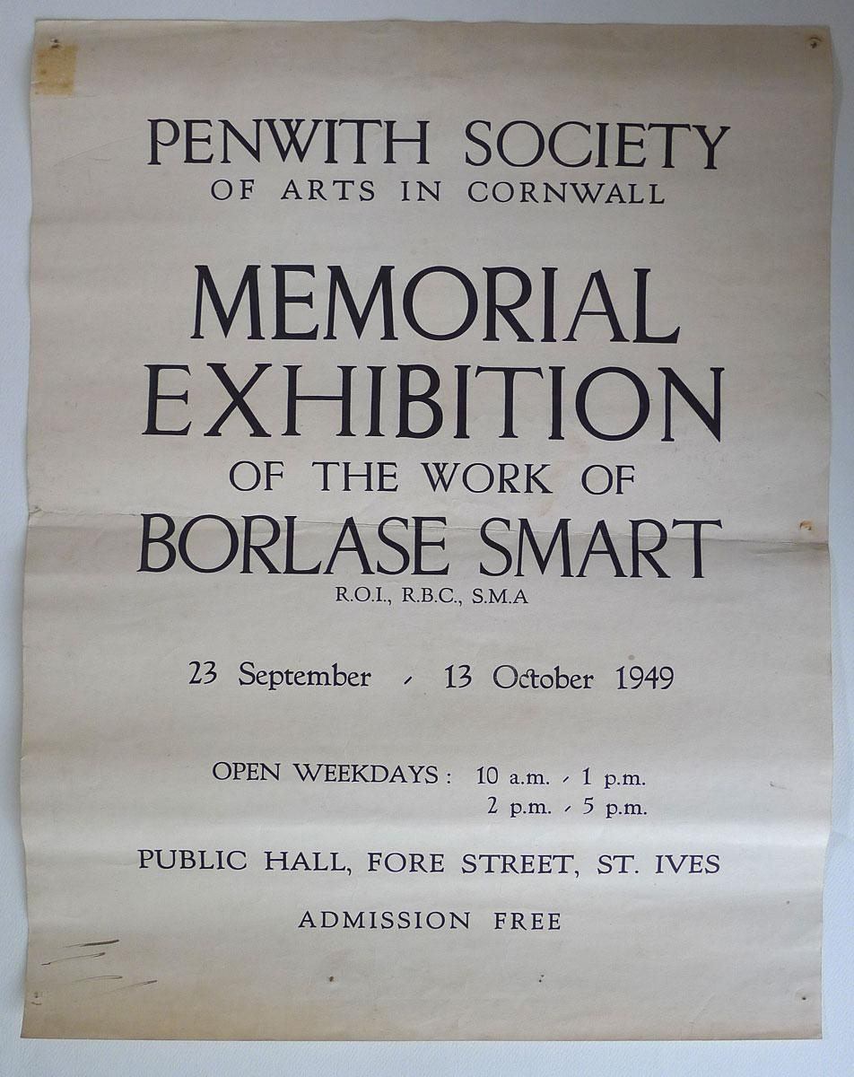 Memorial Exhibition of the Work of Borlase Smart, R.O.I, R.B.C., S.M.A. Original poster for the exhibition. Penwith Society of Arts in Cornwall, Publ