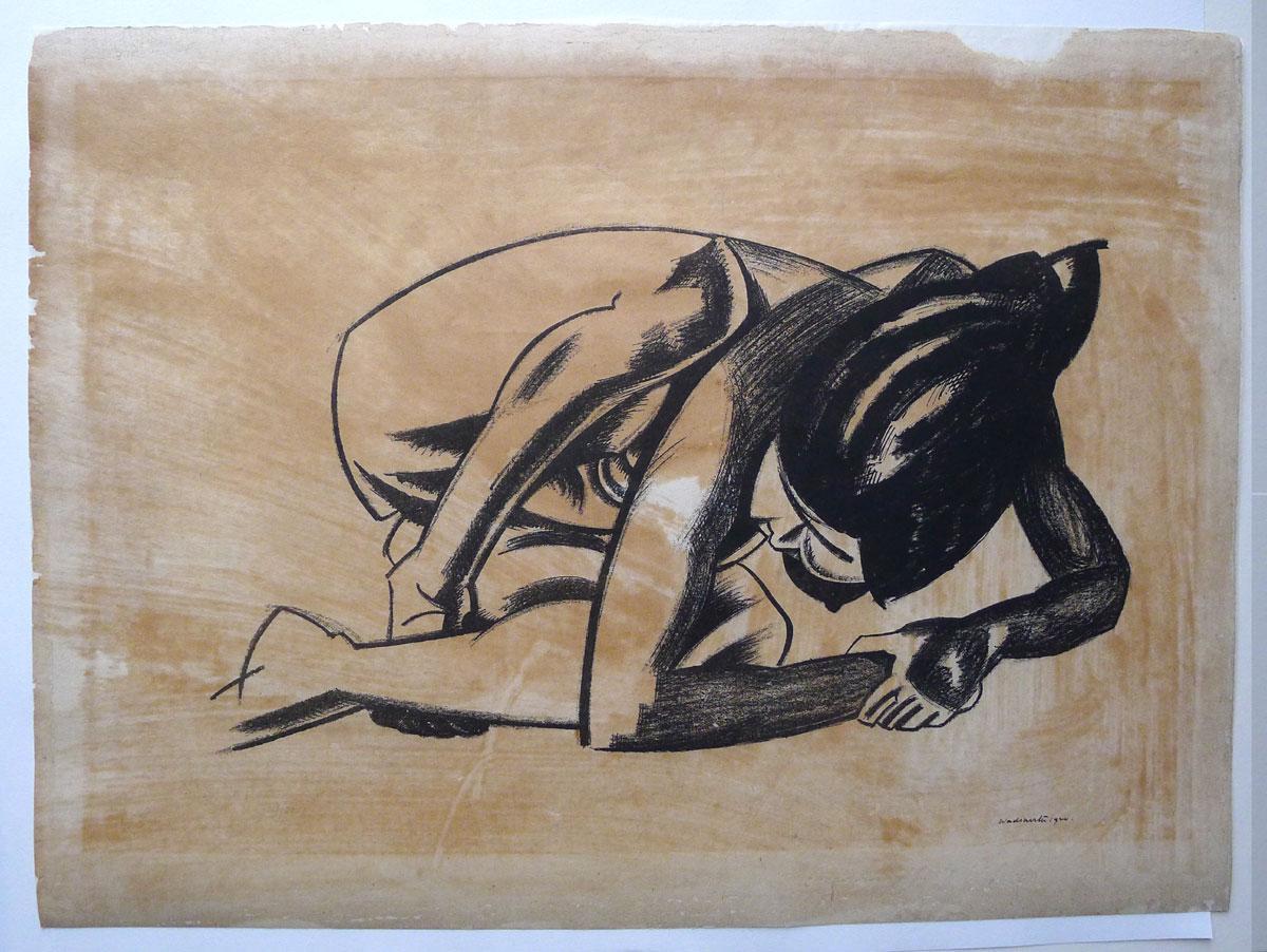 Crouching Nude. Original lithograph. 1920. WADSWORTH, EDWARD.