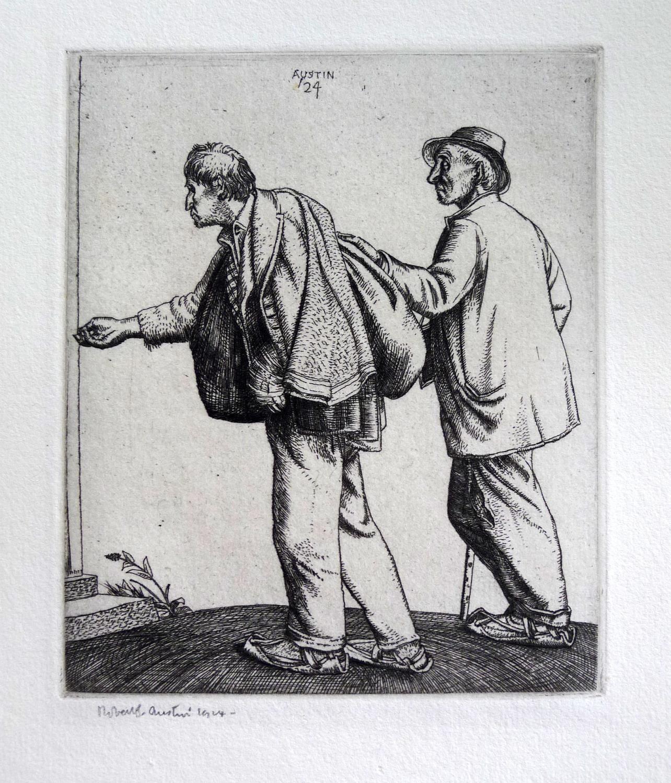 Mendicanti_Beggers_Signed_etching_engraving_AUSTIN_ROBERT_Assez_bon
